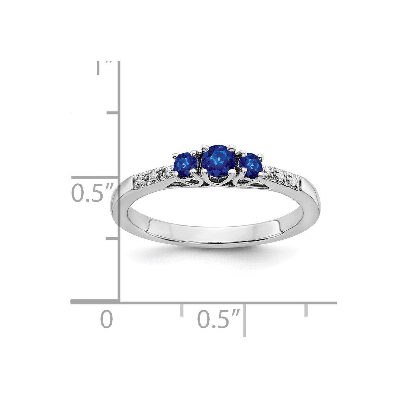 14k White Gold Sapphire and Diamond 3-stone Ring-2