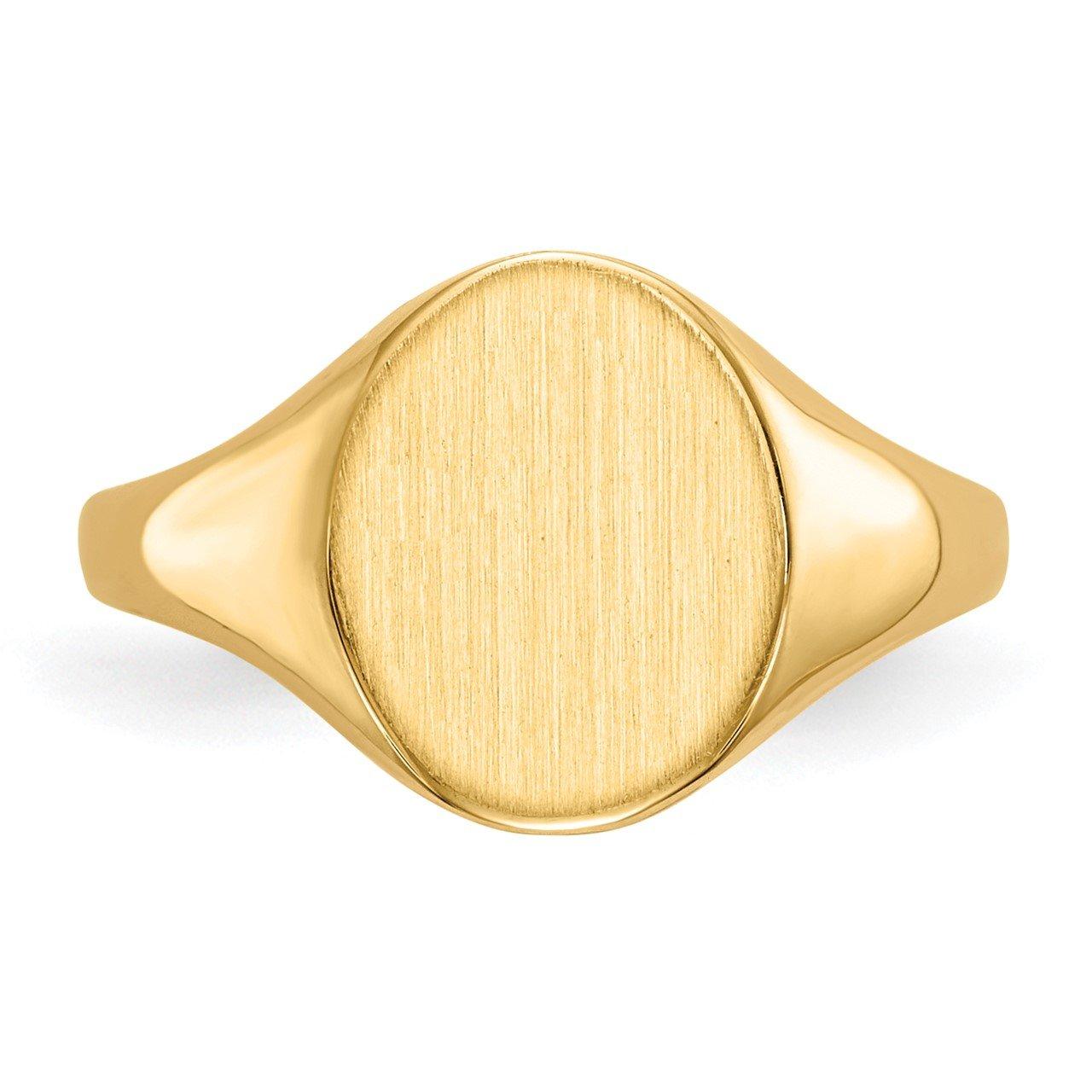 14k 11.0x9.5mm Closed Back Signet Ring-3