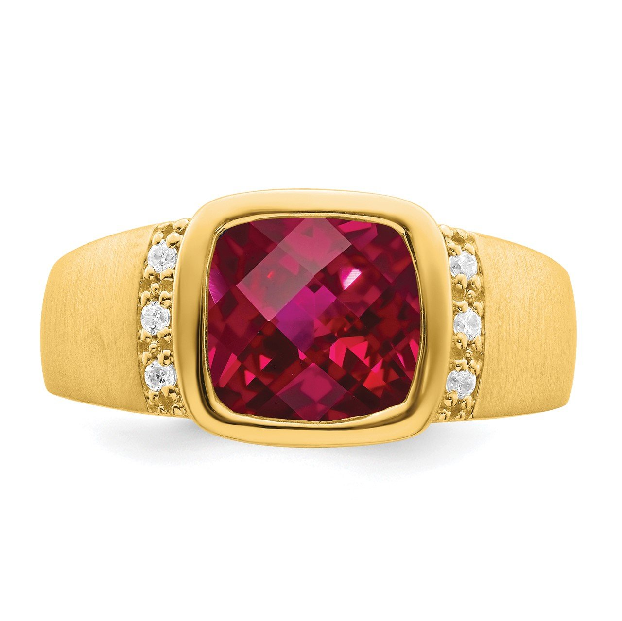 14k Created Ruby and Diamond Mens Ring-4
