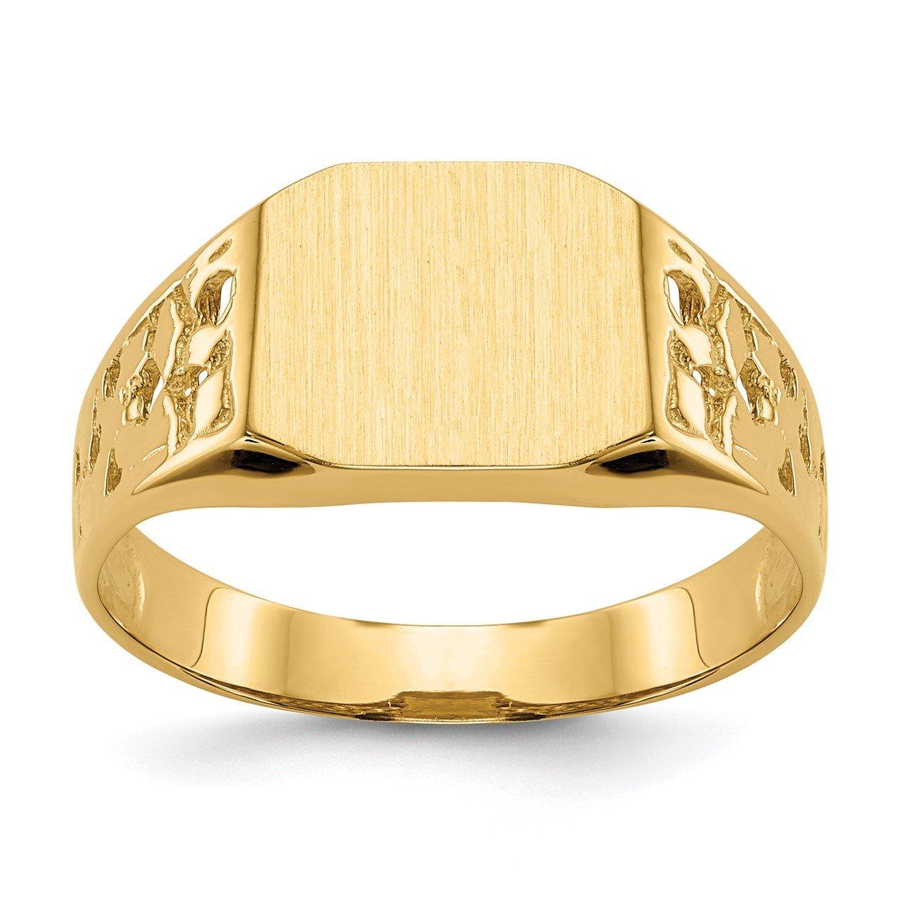 14k 9.0x10.5mm Open Back Men's Signet Ring