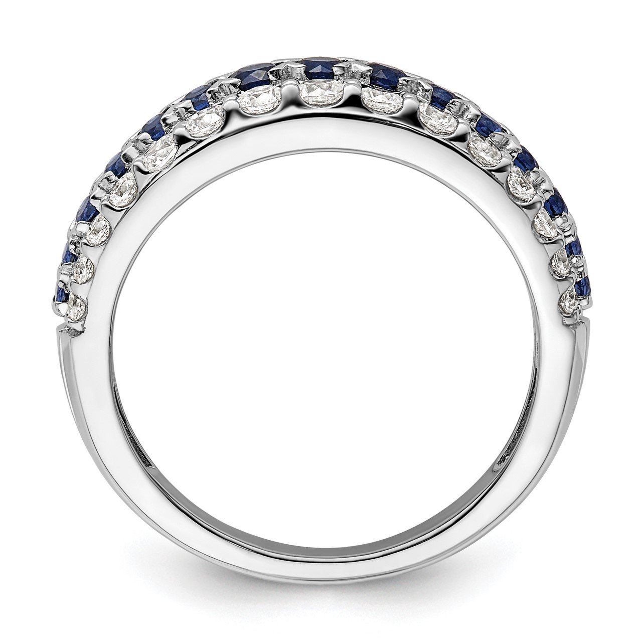 14kw Created Blue Sapphire and Lab Grown Diamond SI1/SI2, G H I, Ring-1