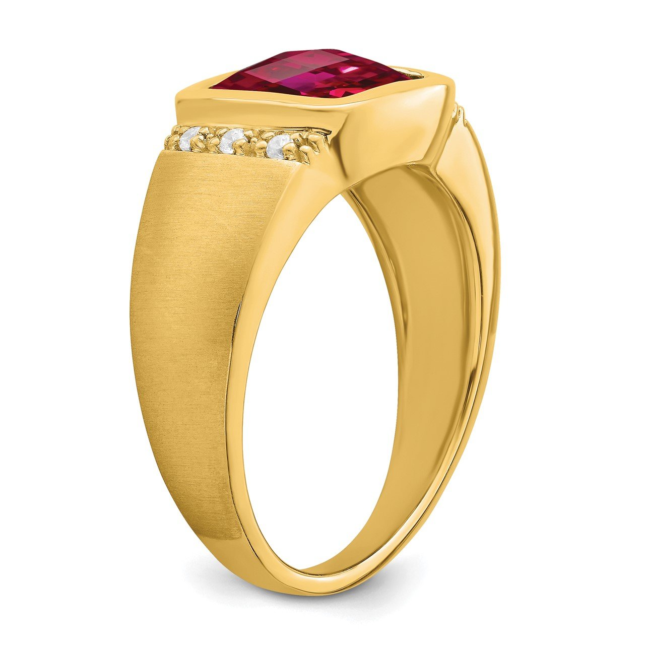 14k Created Ruby and Diamond Mens Ring-6