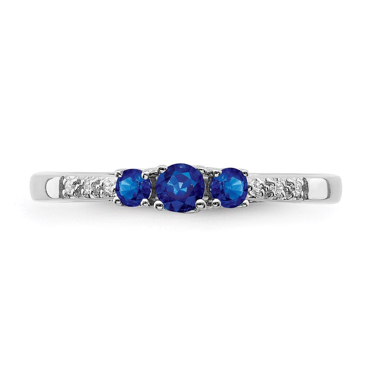 14k White Gold Sapphire and Diamond 3-stone Ring-4