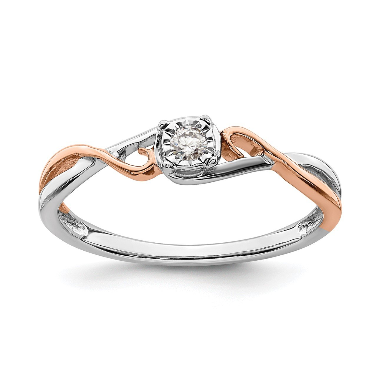 14k White and Rose Gold .05 ctw. Diamond Promise Ring