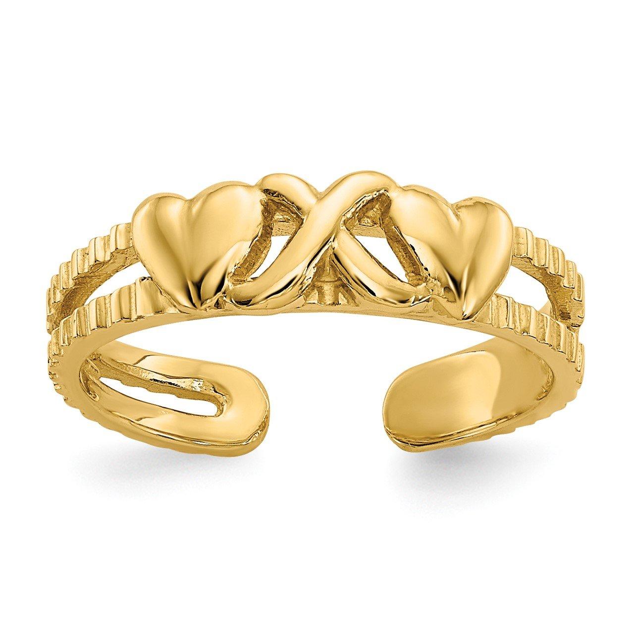 14k Hearts and X Toe Ring