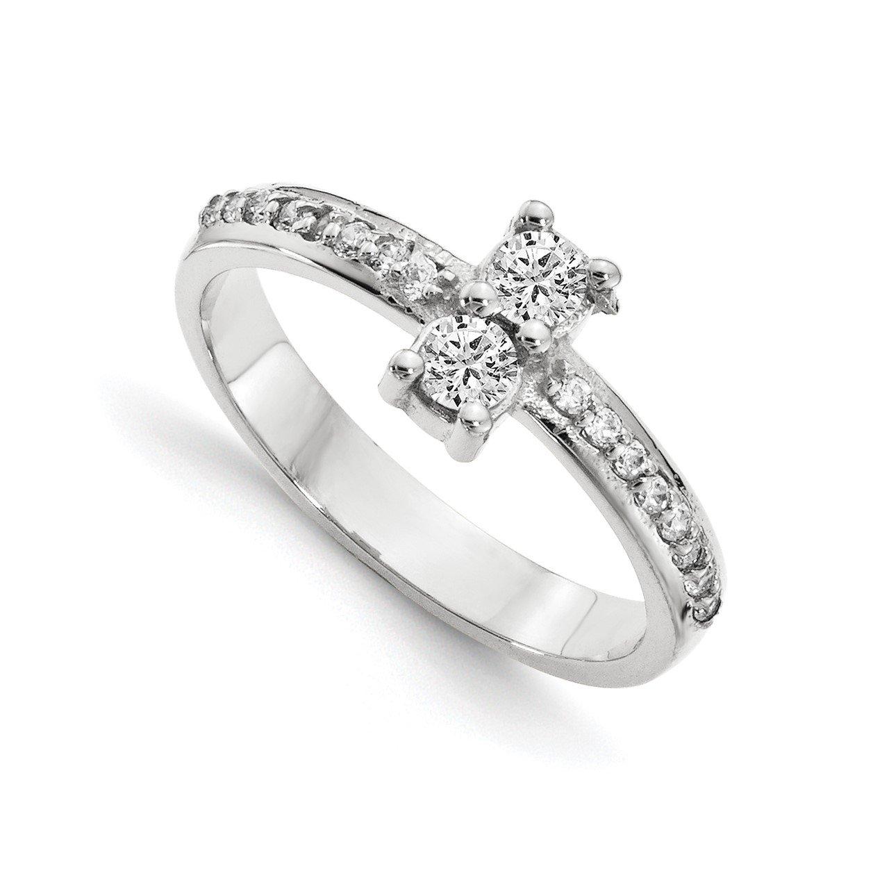 14KW AAA Diamond 2-stone Ring Semi-Mount - 3.1 mm center stones