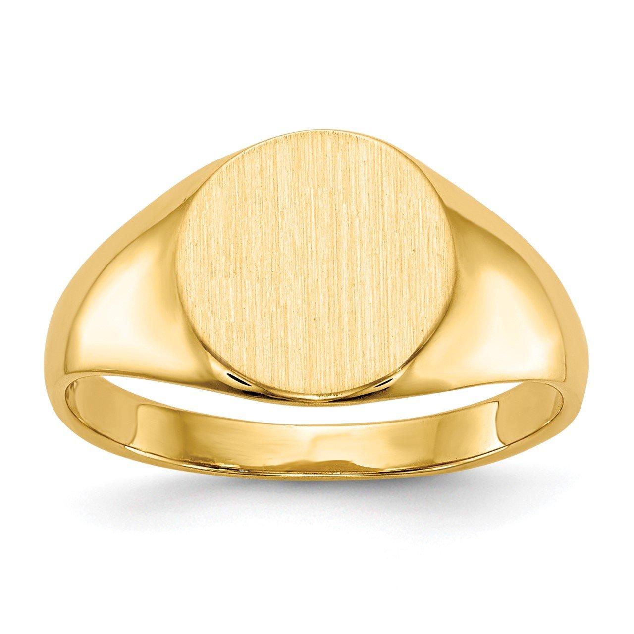 14k 8.5x9.5mm Closed Back Signet Ring
