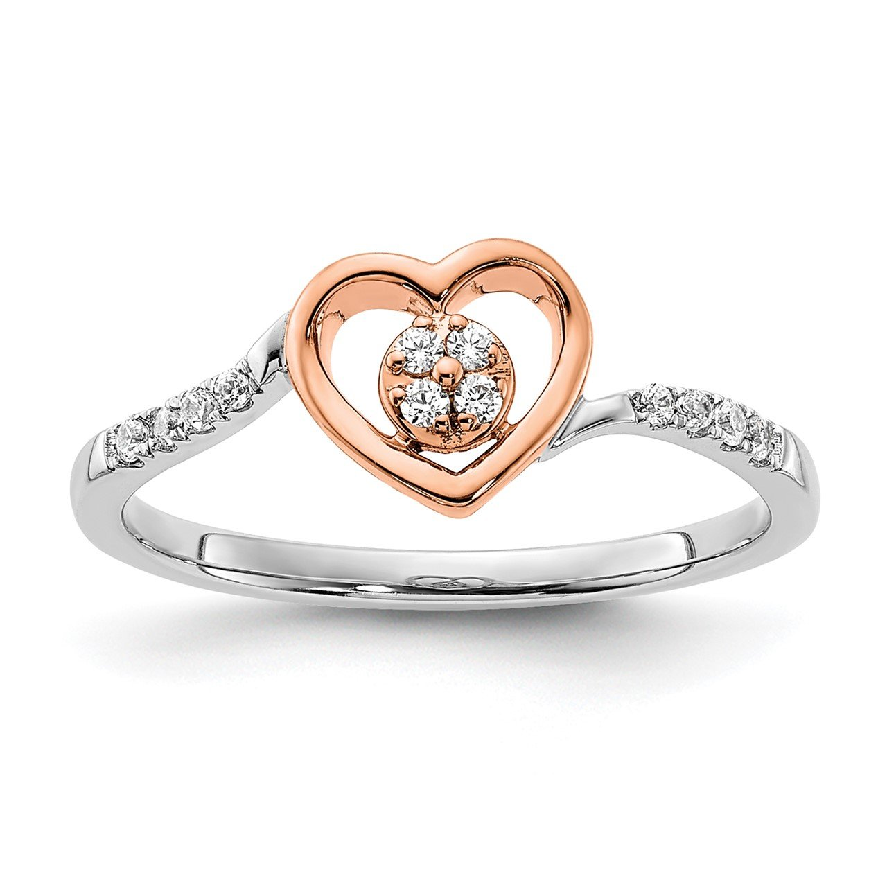 14k White and Rose Heart Cluster Complete Dia. Promise Ring