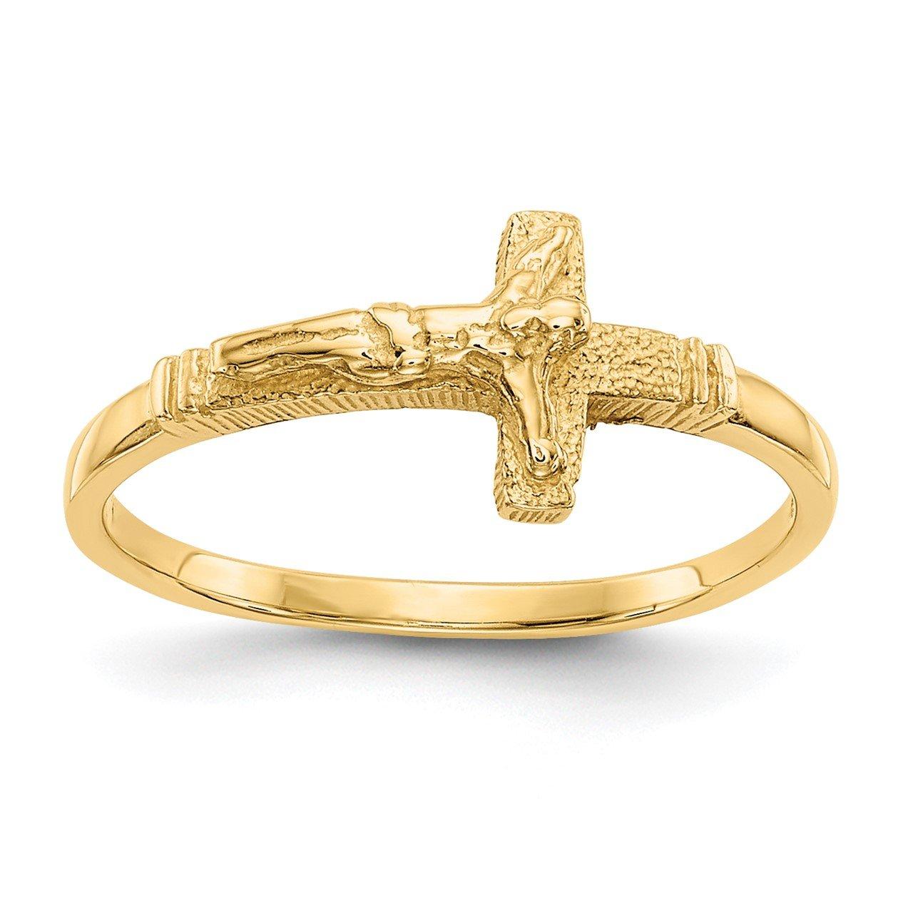 14K Satin Finish Childs Crucifix Ring