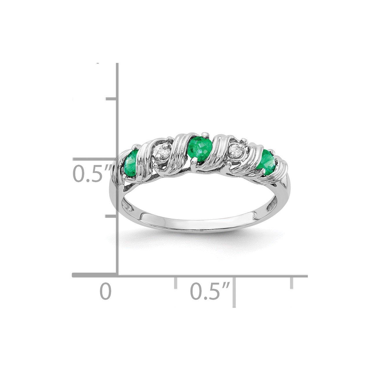 14k White Gold 2.75mm Emerald AA Diamond ring-1