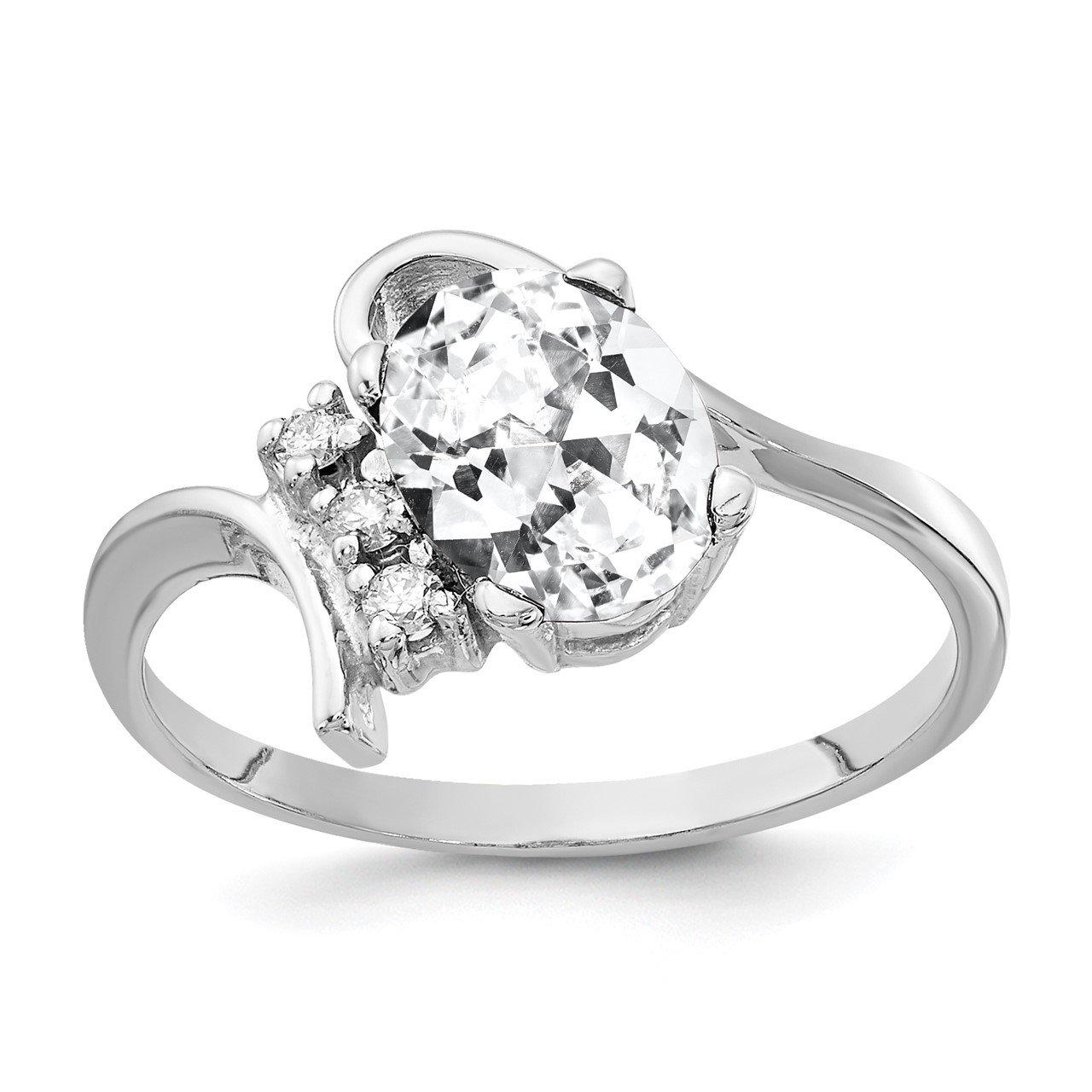 14k White Gold 8x6mm Oval Cubic Zirconia AA Diamond Ring