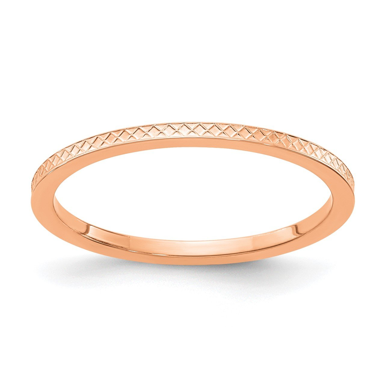 14K Rose Gold 1.2mm Criss-Cross Pattern Stackable Band