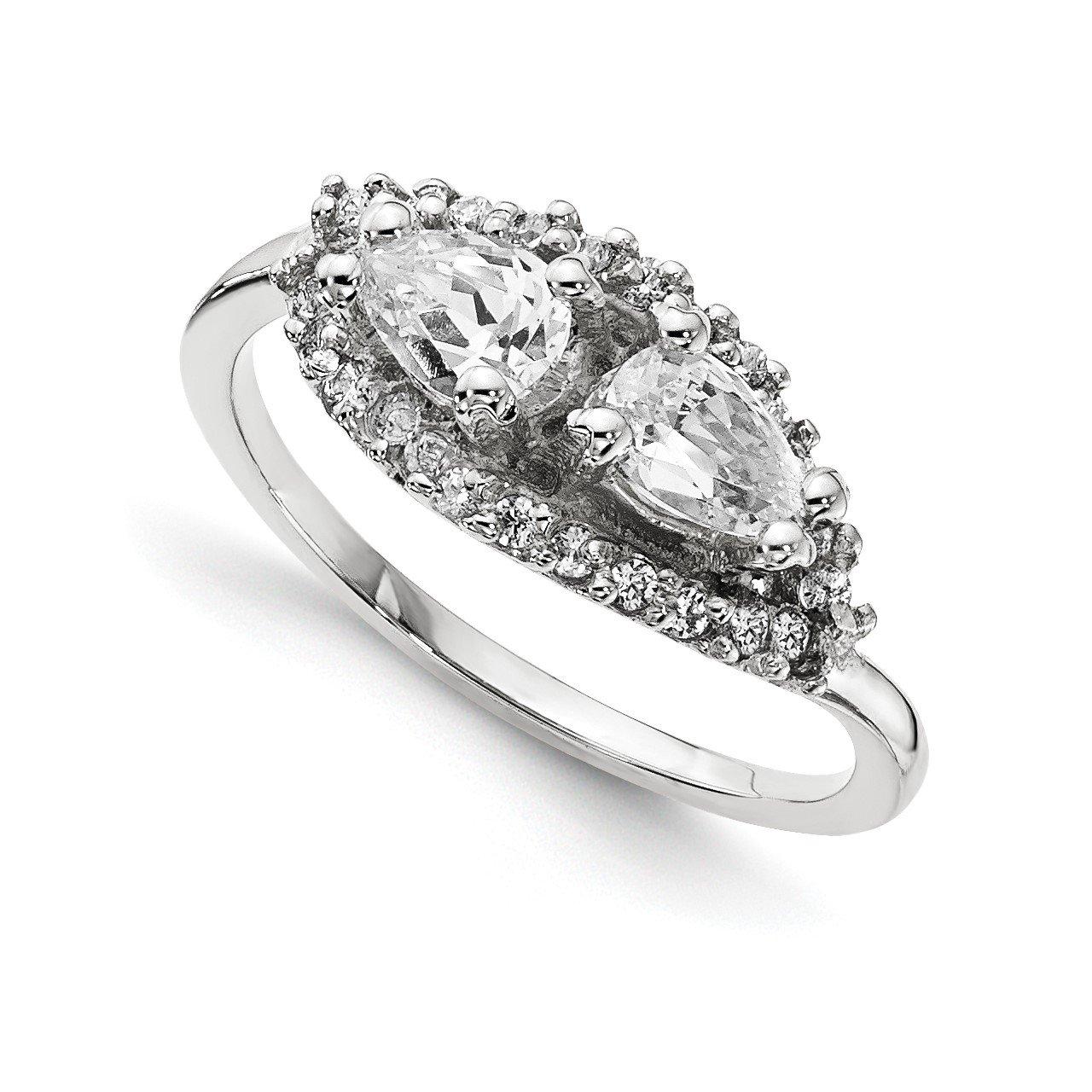 14KW AA Diamond 2-stone Ring Semi-Mount - 6x4 mm center stones