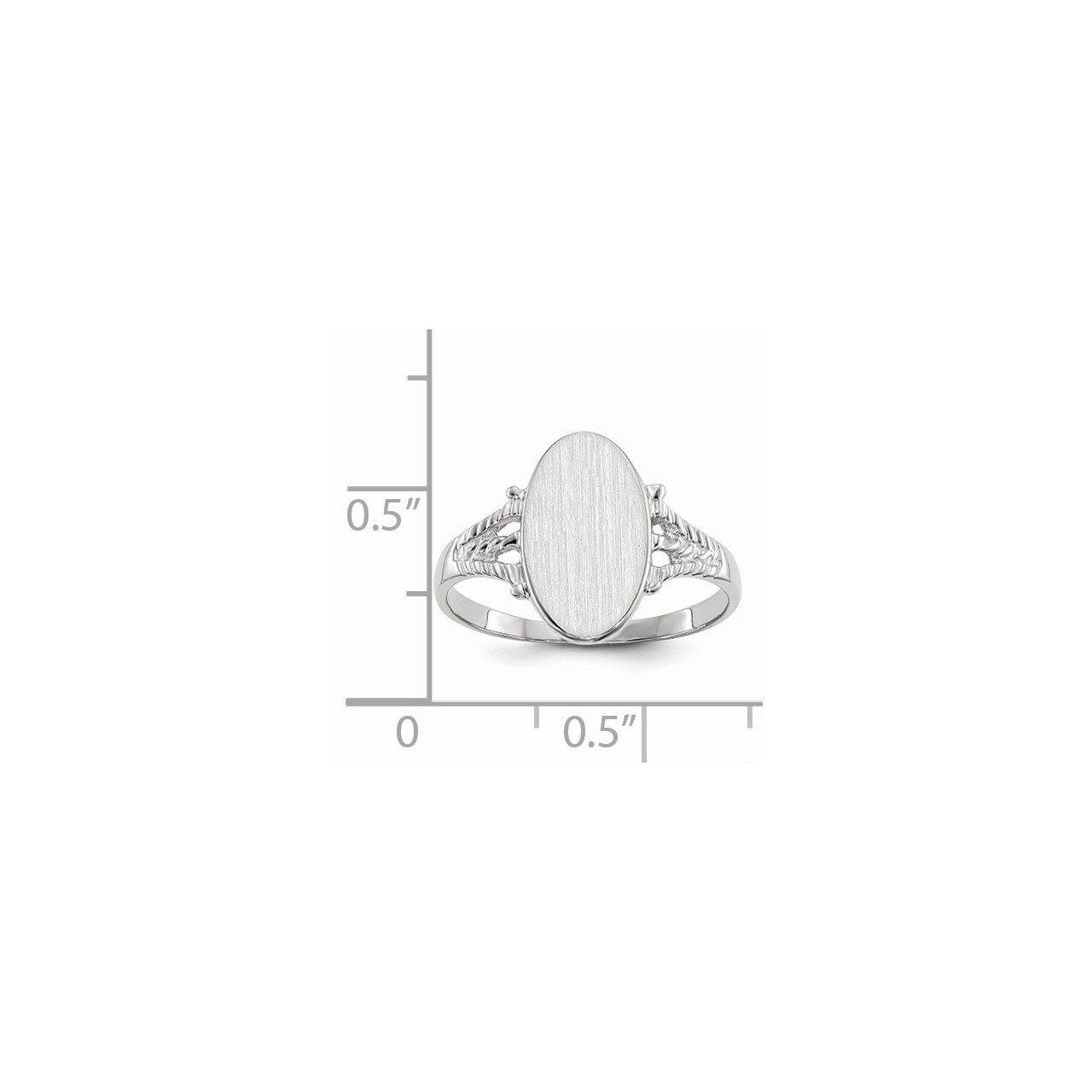 14k White Gold 13.5x8.5mm Closed Back Signet Ring-4