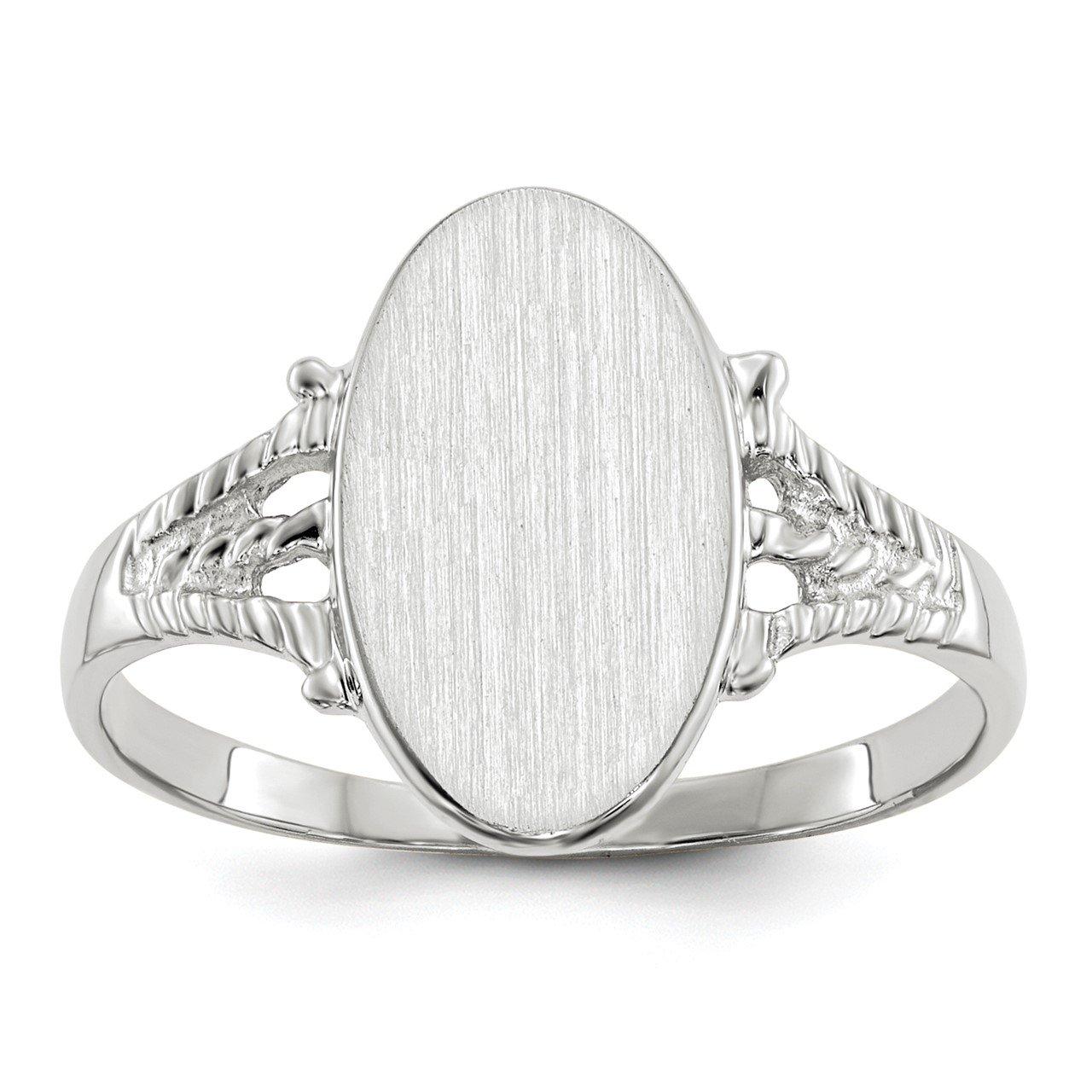 14k White Gold 13.5x8.5mm Closed Back Signet Ring