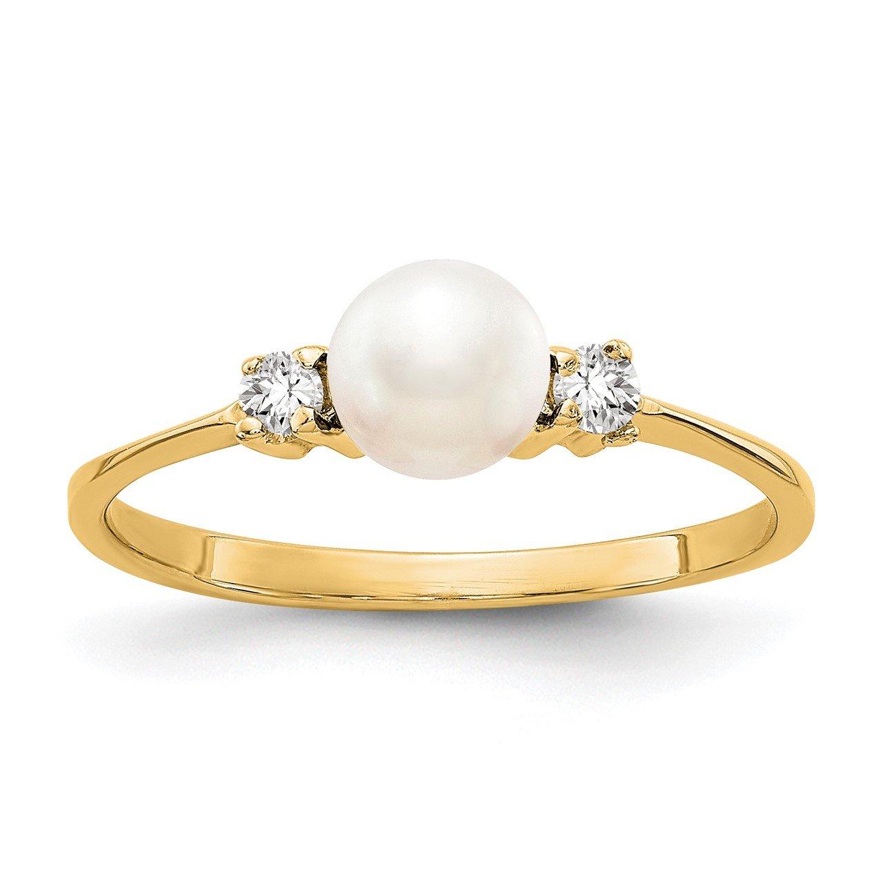 14k 5mm FW Cultured Pearl AA Diamond ring