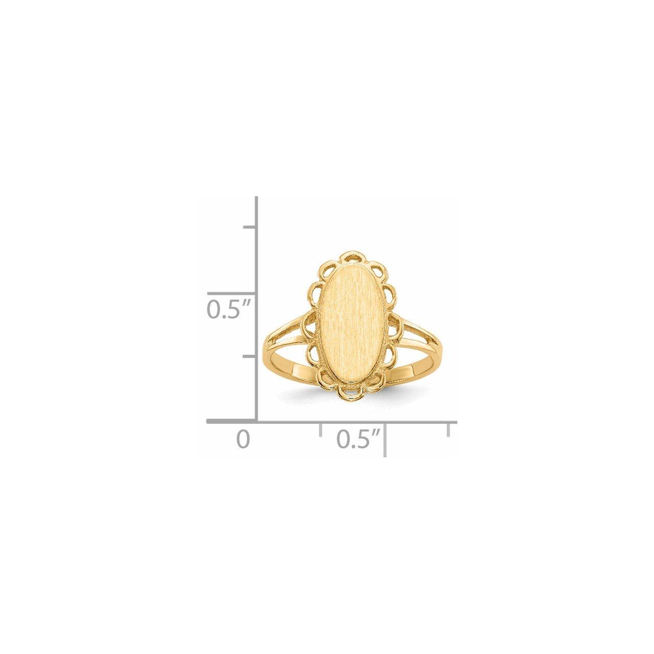 14k 13.0x7.0mm Open Back Signet Ring-4