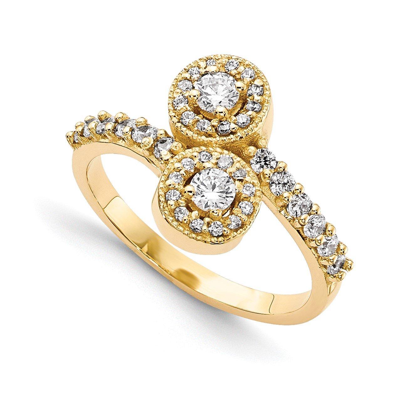 14KY AAA Diamond 2-stone Ring Semi-Mount - 2.3 mm center stones
