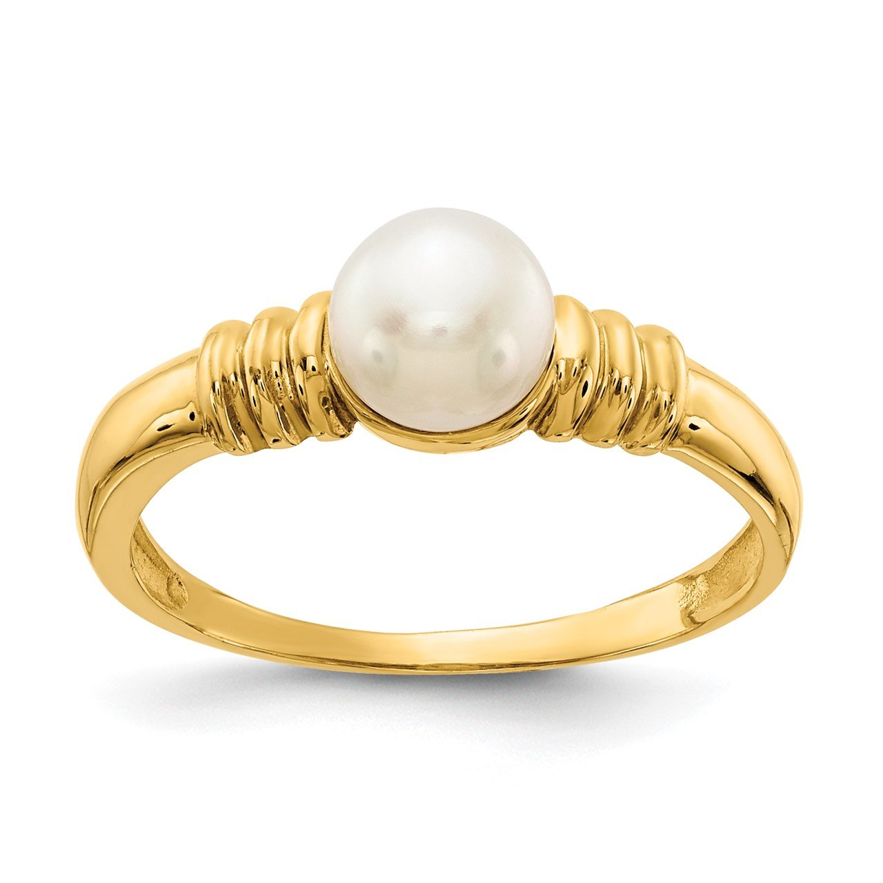 14K 5-6mm White Button Freshwater Cultured Pearl Ring