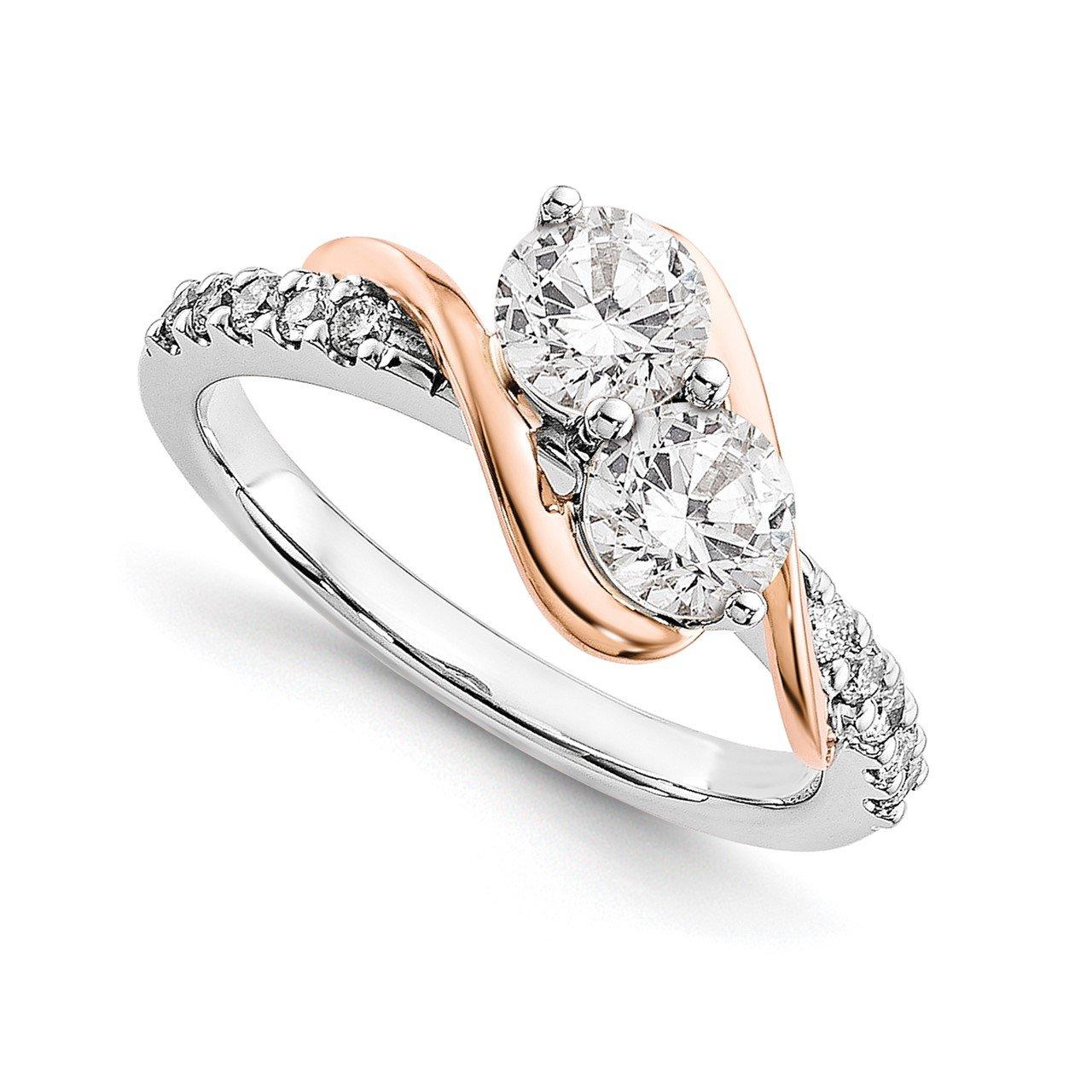 14k White and Rose Gold Diamond Semi-Mount Ring