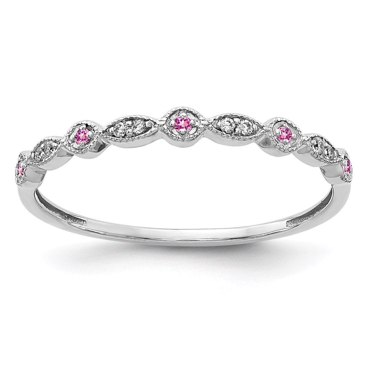 14k White Gold Diamond and Pink Sapphire Fancy Band