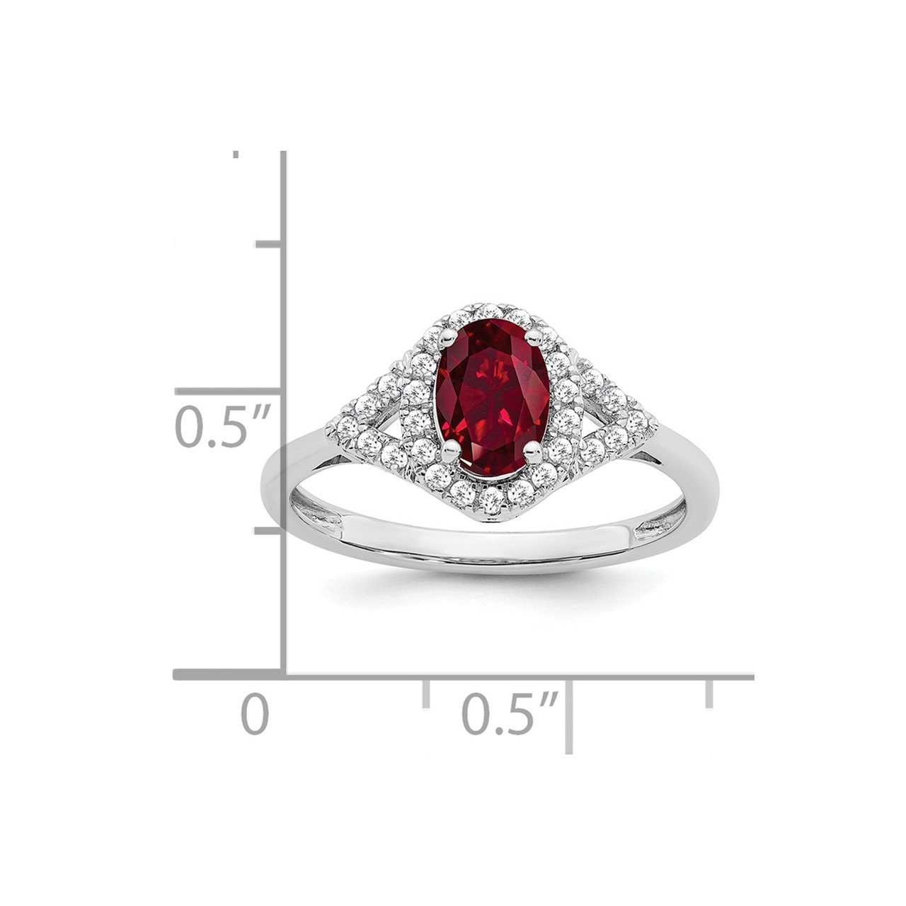 14k White Gold Oval Created Ruby and Diamond Ring-1