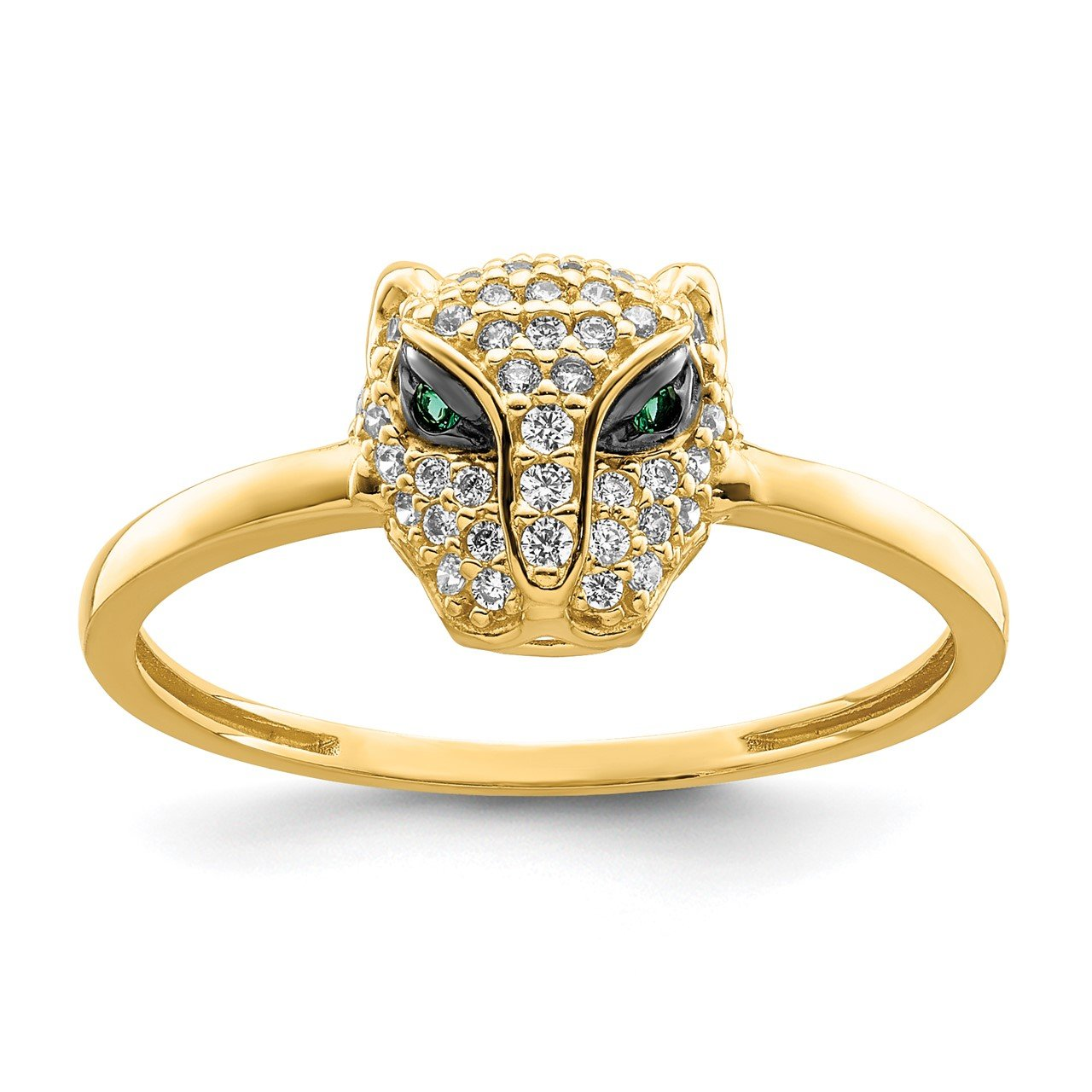 14K Polished Green and White CZ Lioness Head Ring