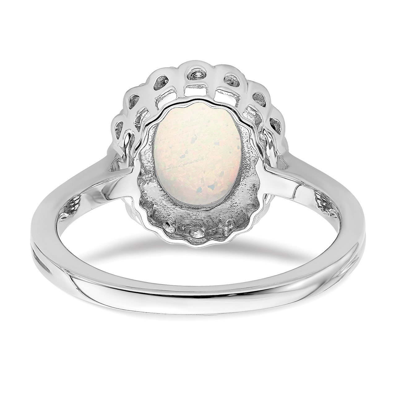 14k White Gold Created Opal and Diamond Halo Ring-5
