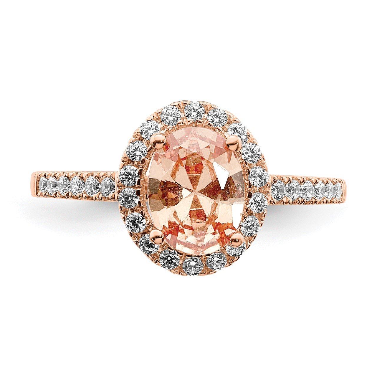 14k Rose Gold Morganite and Diamond Eng Ring-3