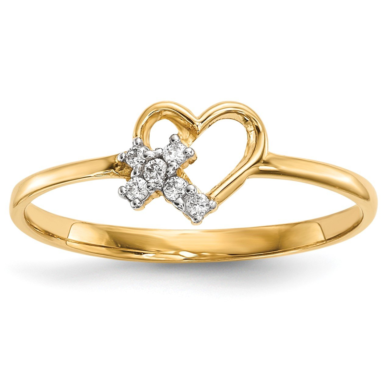 14k Heart with CZ Cross Ring