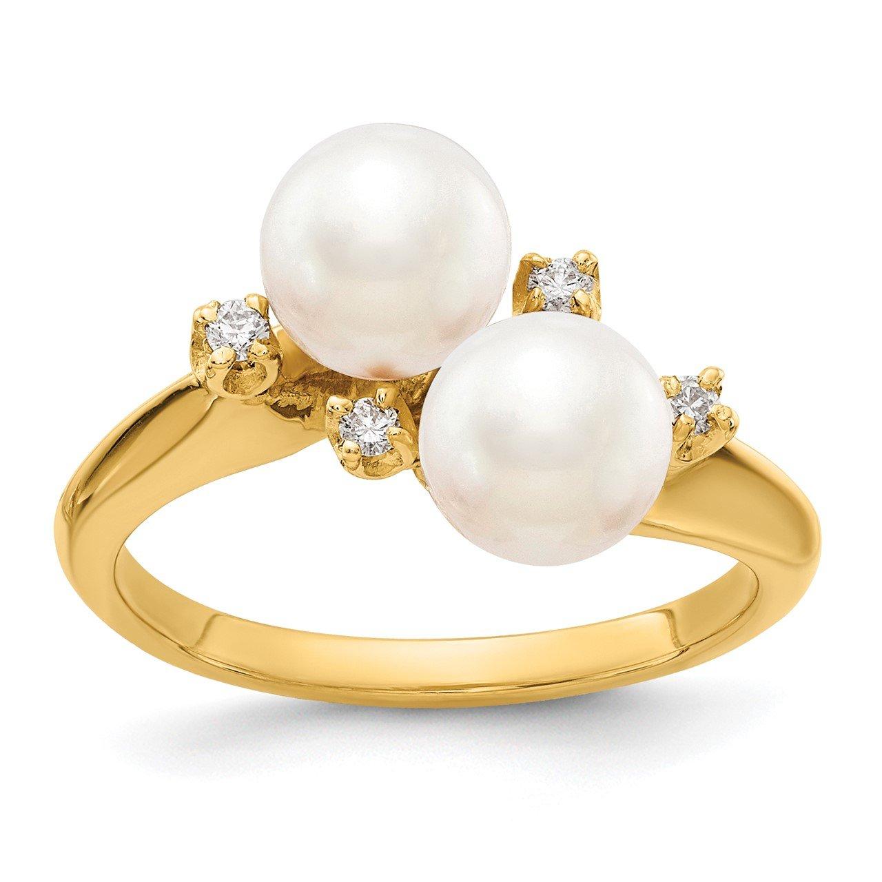 14k 6mm FW Cultured Pearl AA Diamond ring