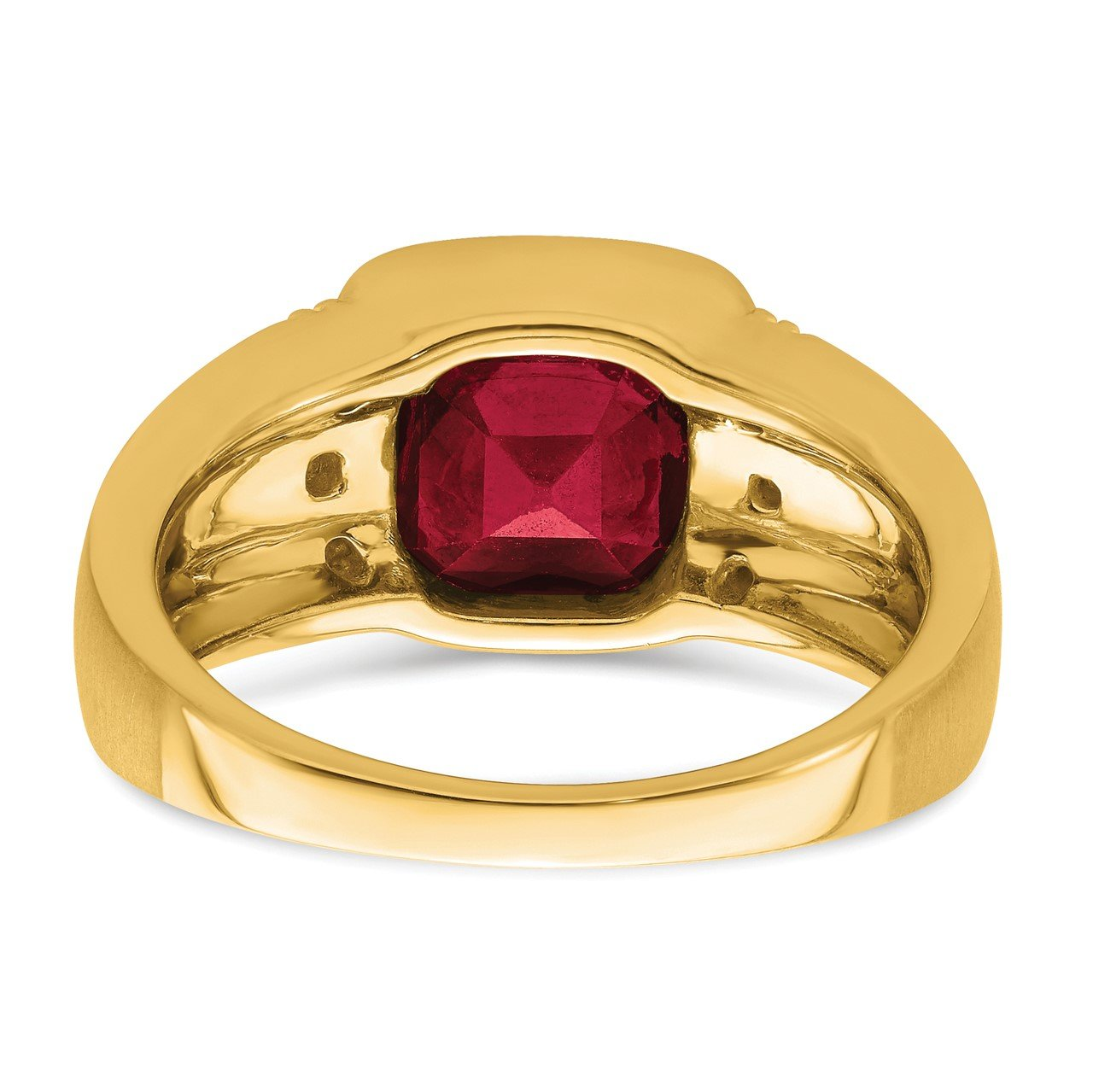 14k Created Ruby and Diamond Mens Ring-5