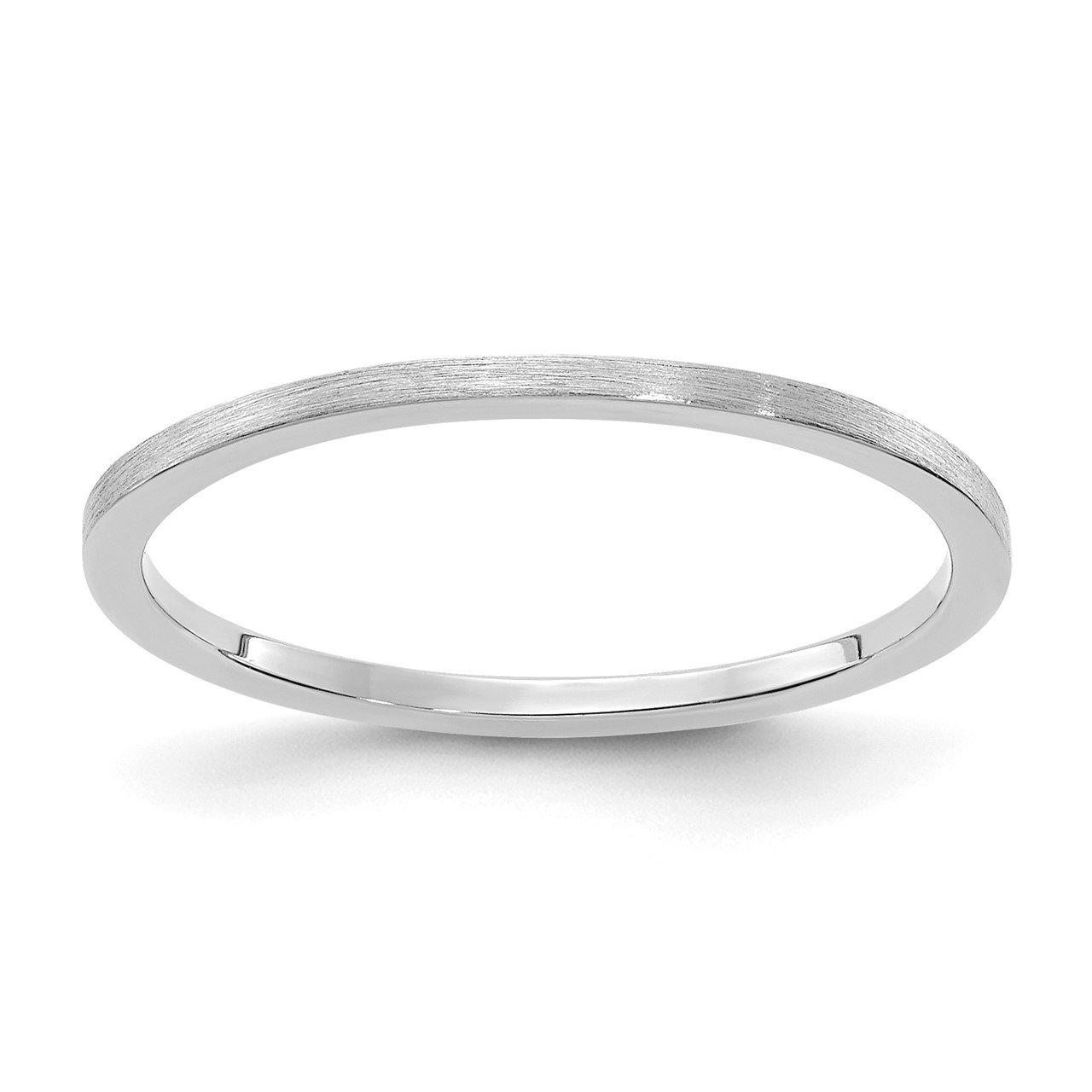 14K White Gold 1.2mm Flat Satin Stackable Band