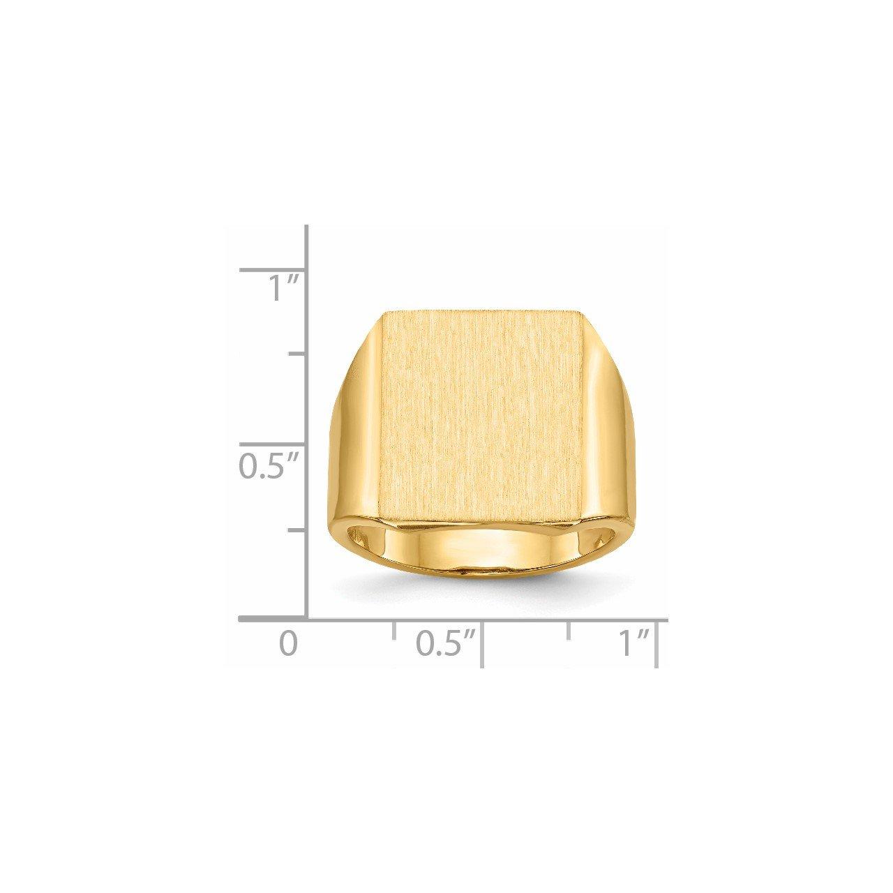 14k 17.5x15.5mm Open Back Mens Signet Ring-4