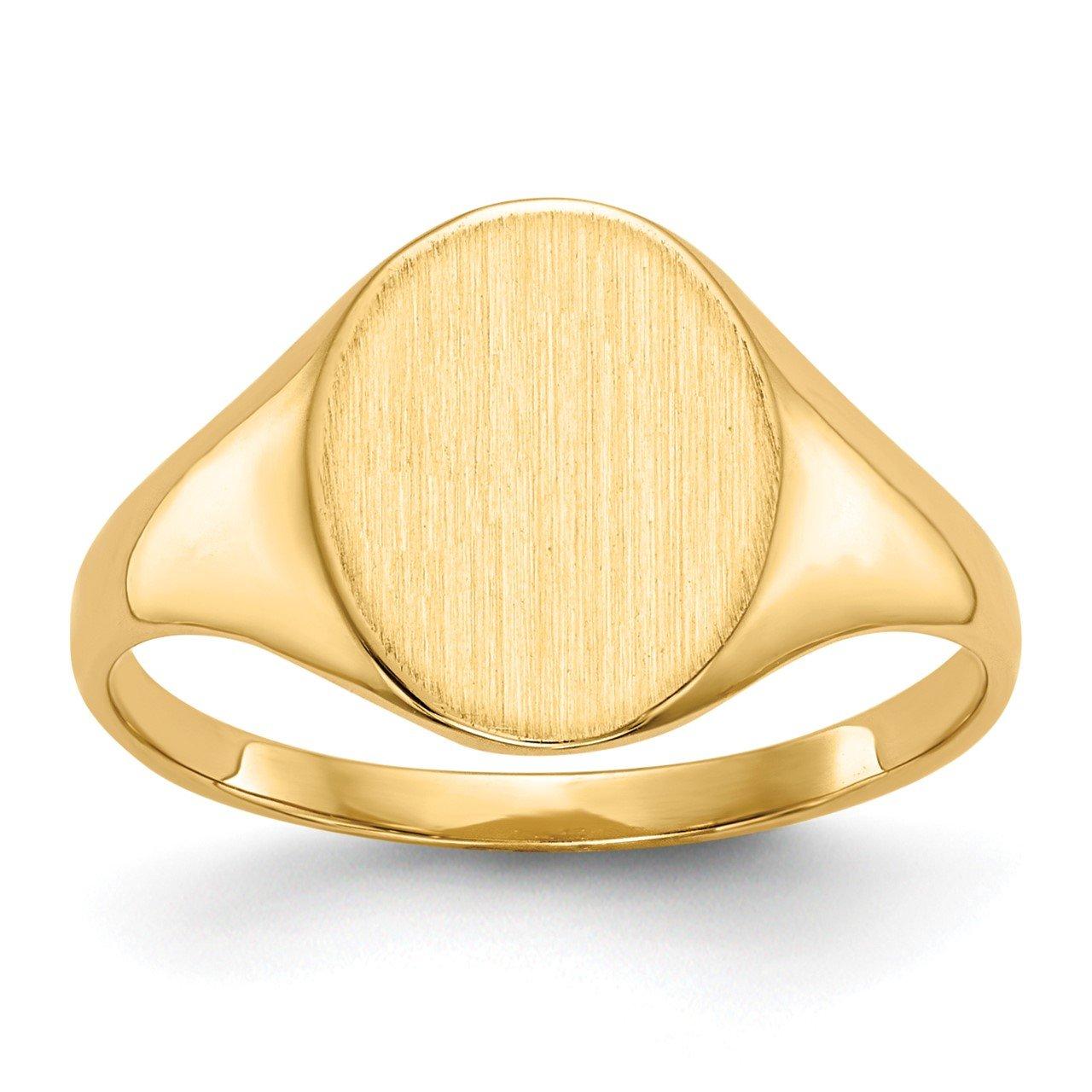 14k 11.0x9.5mm Closed Back Signet Ring