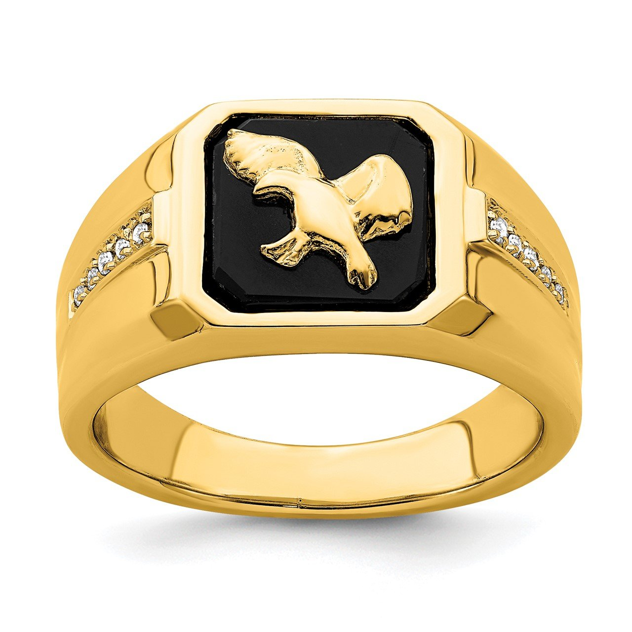 14k Onyx and Diamond Eagle Mens Ring