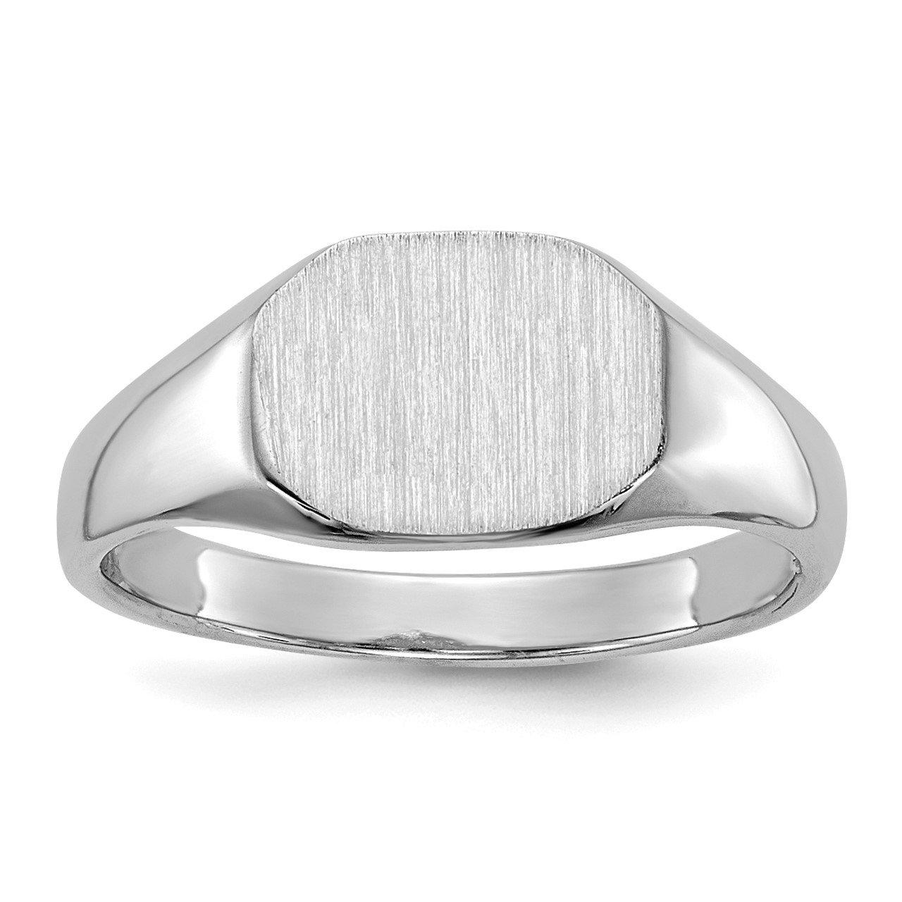 14k White Gold 8.0x6.5mm Open Back Child's Signet Ring