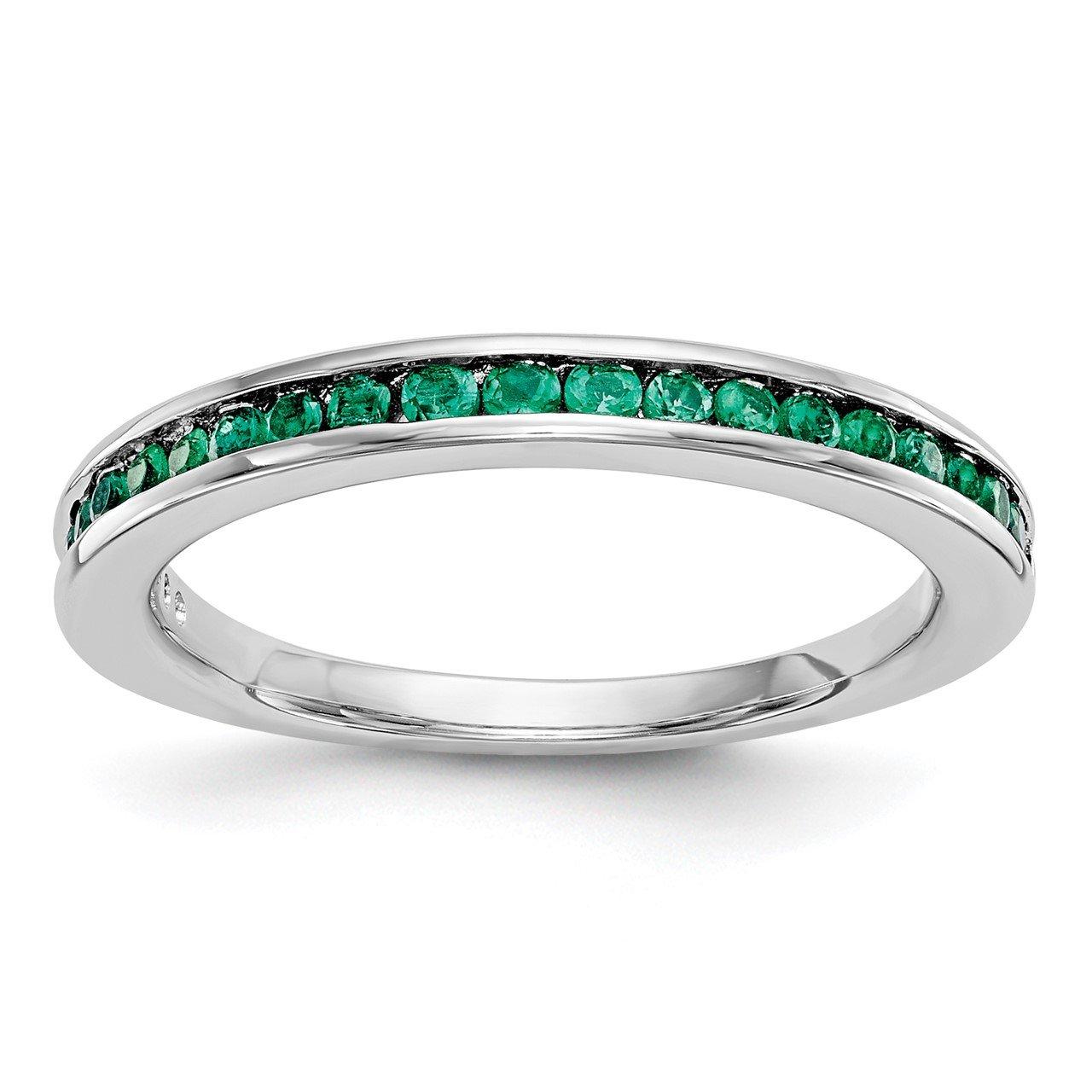 14k White Gold Emerald Band