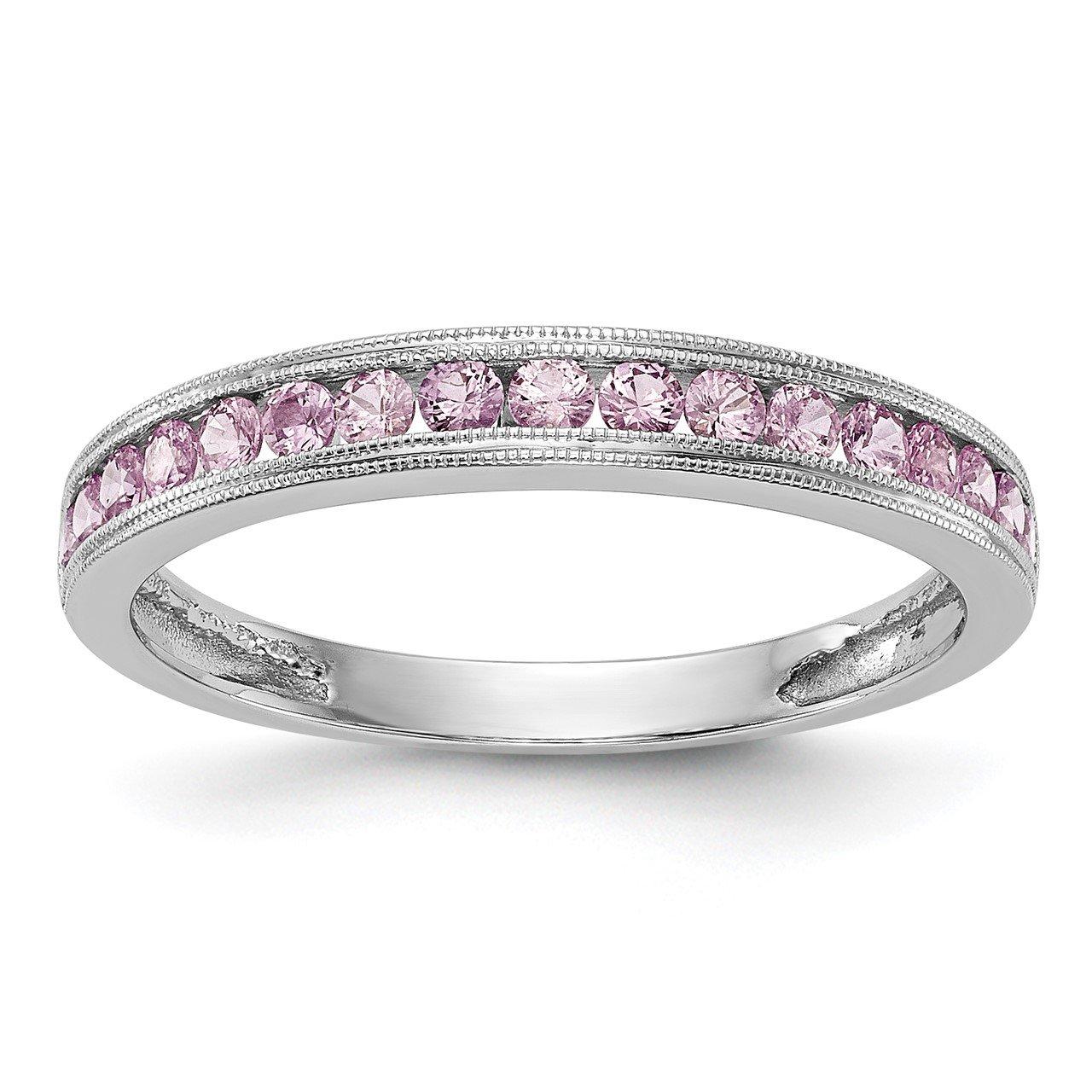 14k White Gold Pink Sapphire Band