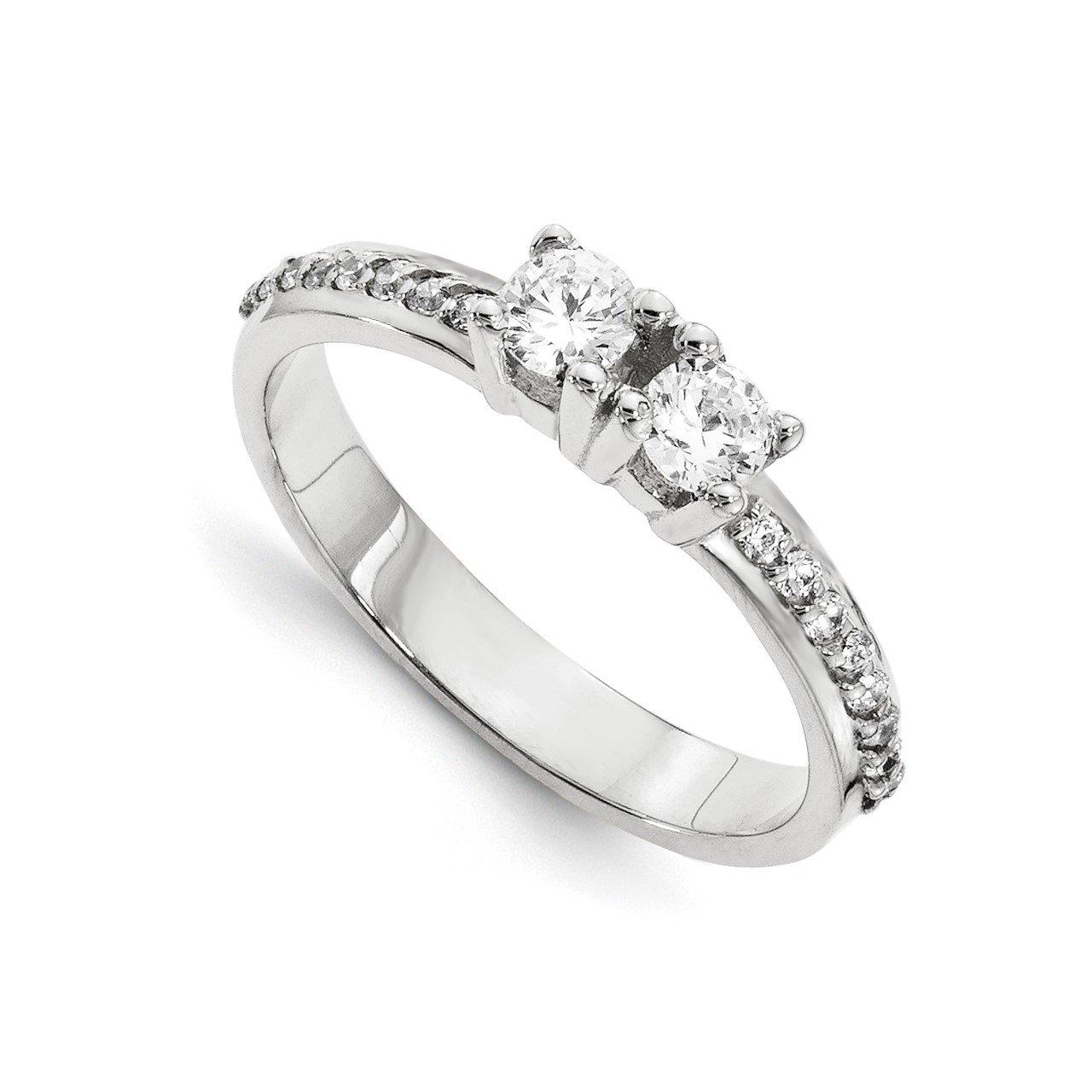 14KW AAA Diamond 2-stone Ring Semi-Mount - 4.8 mm center stones