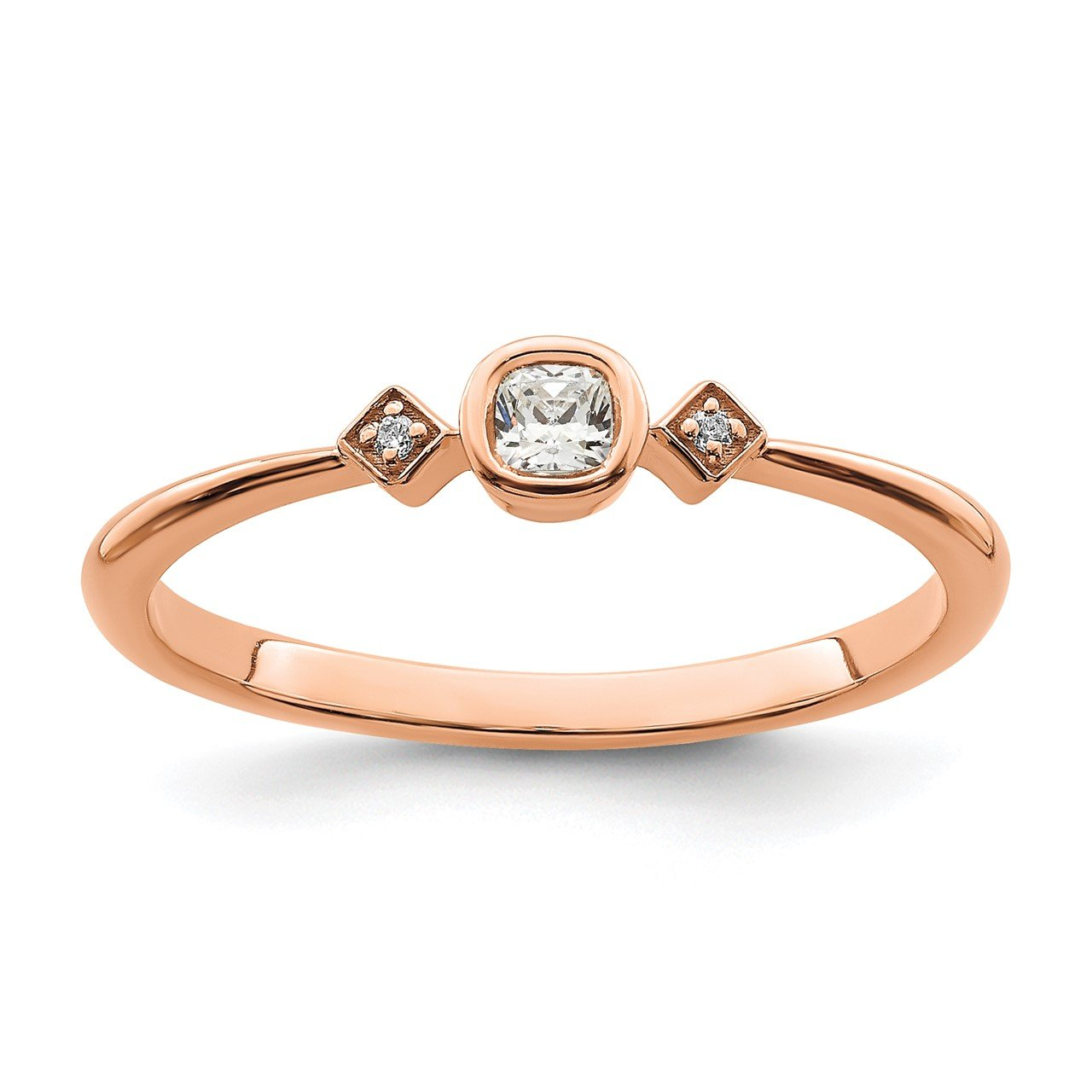 14k Rose Gold Polish Petite Cushion Complete Dia Ring