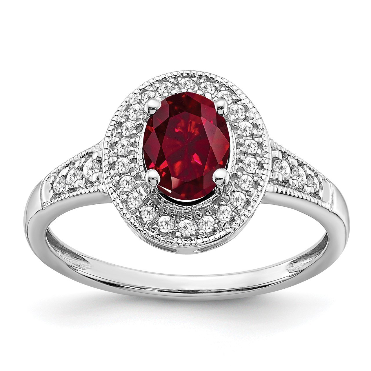 14k White Gold Oval Created Ruby and Diamond Halo Ring