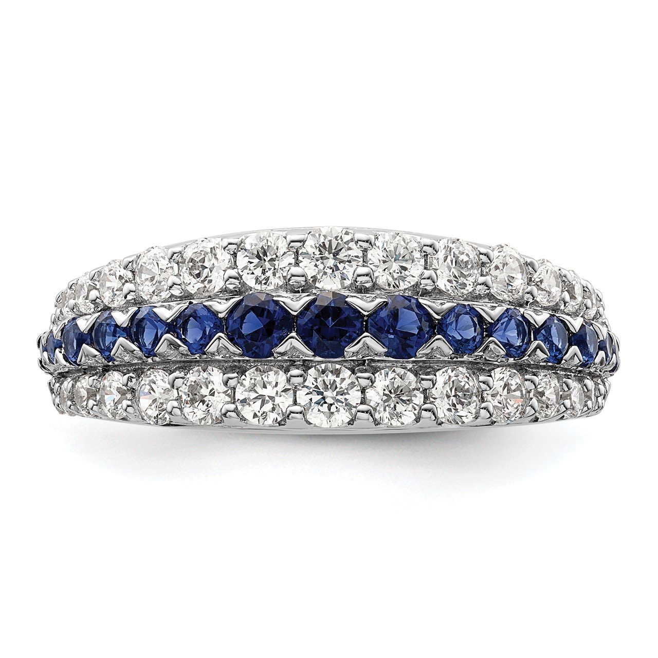 14kw Created Blue Sapphire and Lab Grown Diamond SI1/SI2, G H I, Ring-3