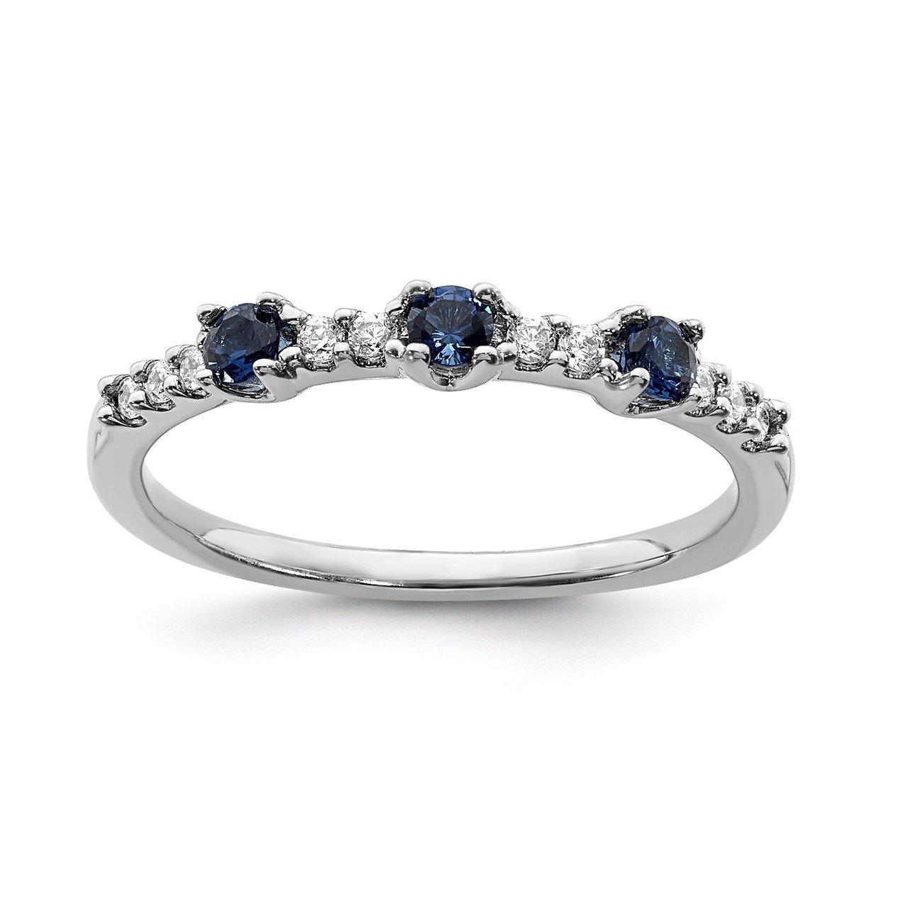 14k White Gold Diamond and Sapphire 3-Stone Ring