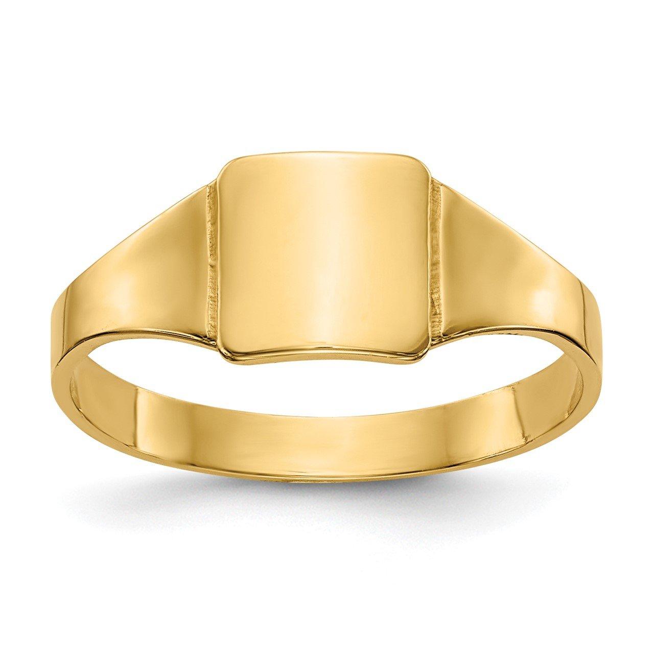 14k Polished Square Signet Baby Ring