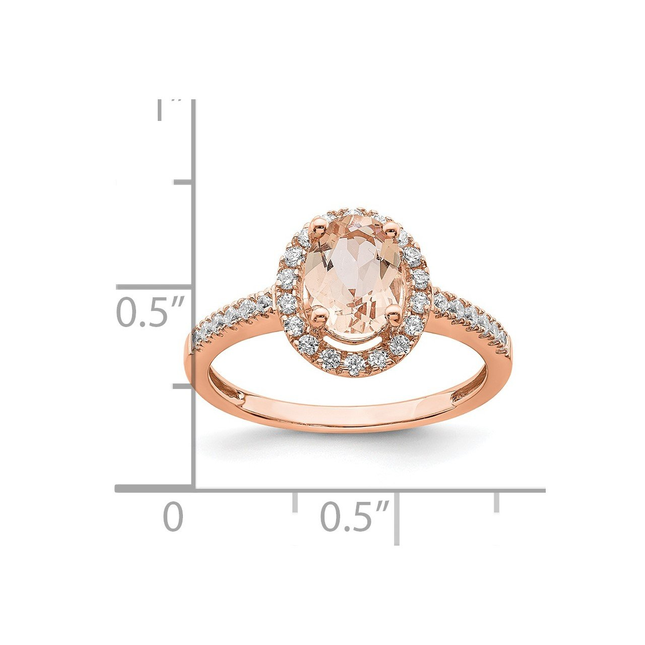 14k Rose Gold Morganite and Diamond Eng Ring-7
