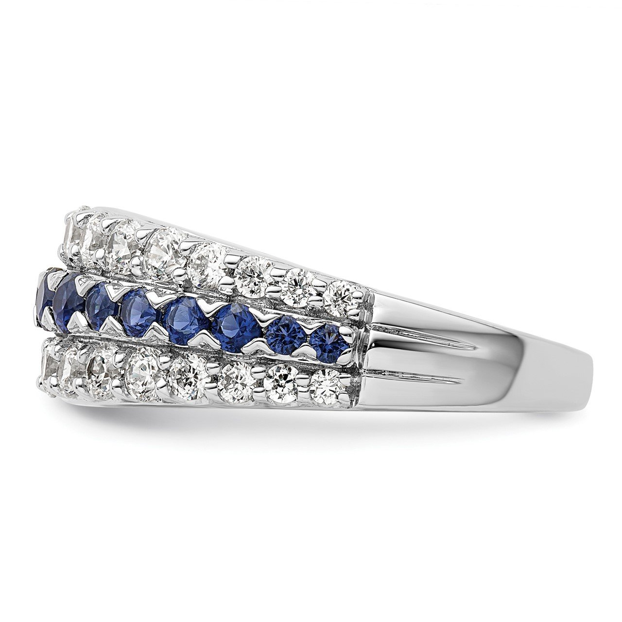 14kw Created Blue Sapphire and Lab Grown Diamond SI1/SI2, G H I, Ring-2