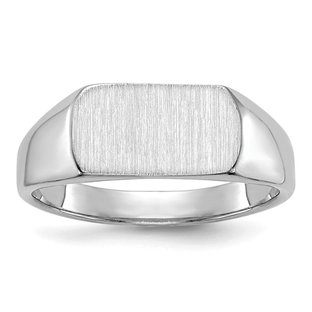 14k White Gold 10mmx6mm Open Back Signet Ring