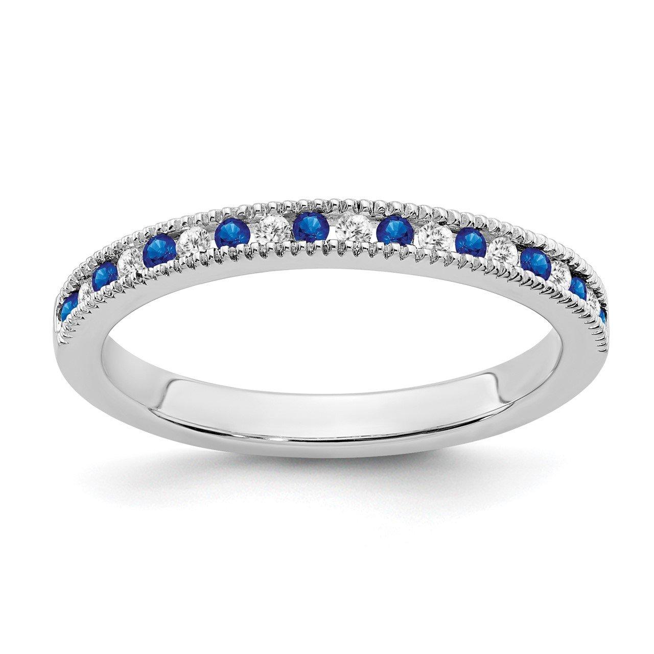 14k White Gold Sapphire and Diamond Band