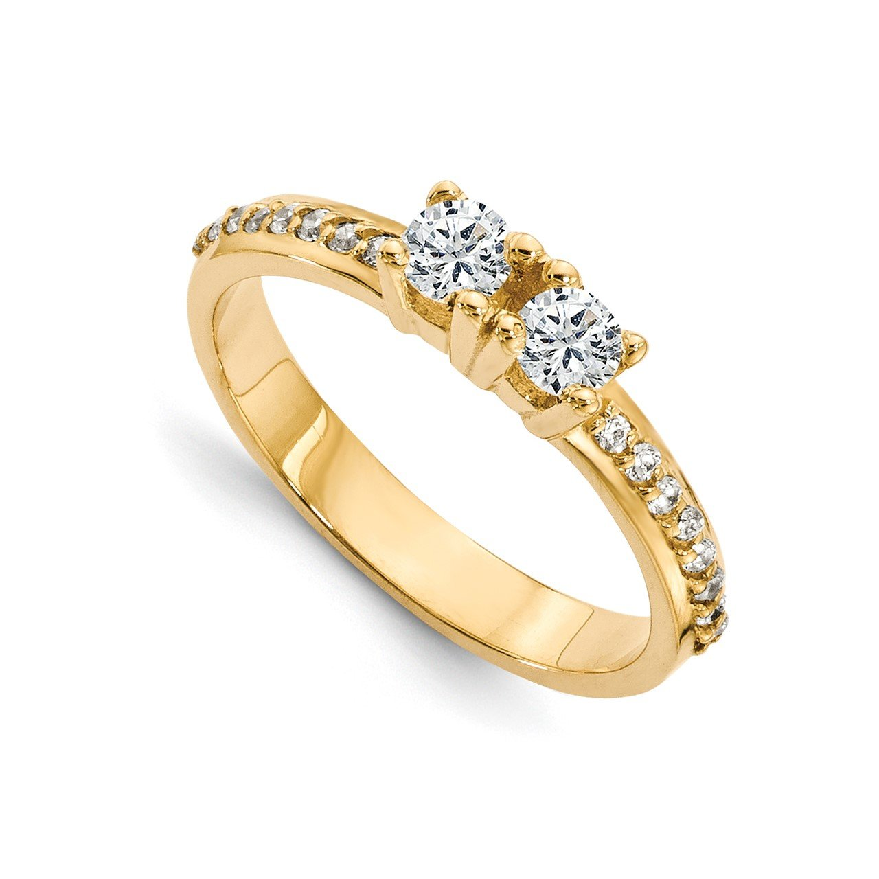 14ky AAA Diamond 2-stone Ring Semi-Mount - 4.2 mm center stones